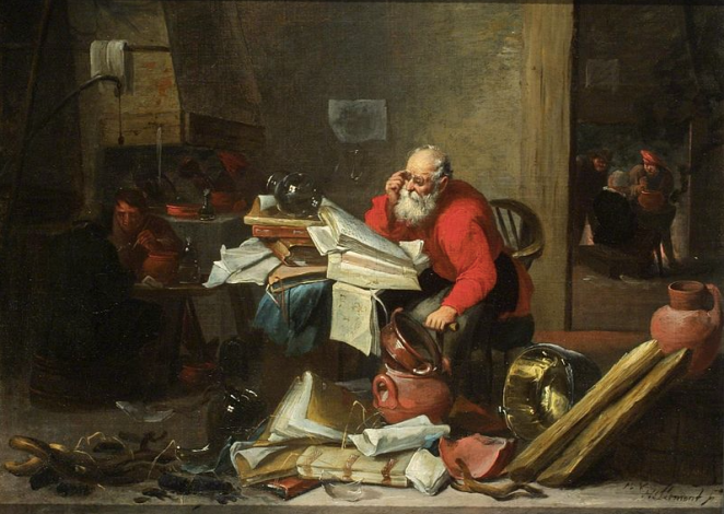 The Alchemist by Mattheus von Helmont (Antwerp 1623-After 1679, Brussels) Oil on Canvas. A bearded seated man facing three quarters left, with glasses and bright red shirt, bends over open book on desk stacked high with mess of books, papers, glassware. More of same at his feet plus broken and unbroken crockery, large copper pan, and strands of straw throughout. At left middle ground two men at table; behind them a man stands by a large furnace and pours from one vessel into another. To right in background through partition are three men around a free standing small furnace heating a pot. Van Helmont was a follower of Adrien Brouwer and David Teniers II. Popular subjects for these artists include peasant interiors, alchemists, doctors, and craftsmen at work.