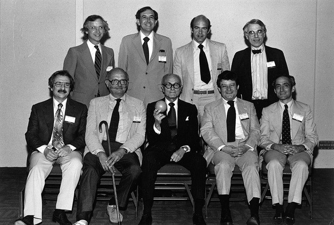 "Front row, from left to right: Frank Gehry, Charles Moore, Philip Johnson, Stanley Tigerman, and Robert A.M. Stern. Back row, from left to right: Michael Graves, Cesar Pelli, Charles Gwathmey, and Peter Eisenman. Philip Johnson's AIA Gold Medal acceptance, pictured with his ""kids,"" Dallas, Texas, 1978. Image © Courtesy Tigerman McCurry Architects (http://www.archdaily.com/780433/interview-with-stanley-tigerman-in-chicago-id-much-rather-have-better-work-than-better-friends)"