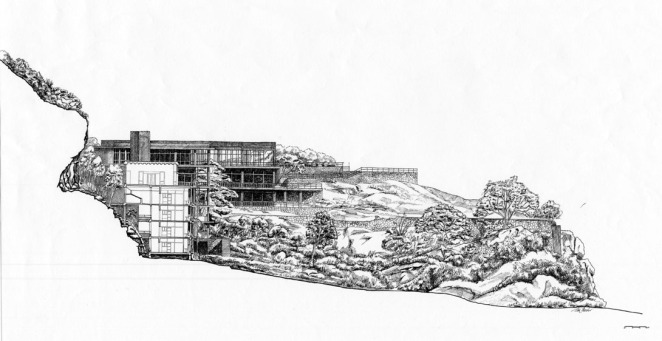 Kandalama Hotel | Sectional elevation through the hotel showing the relationship of the building to the cliff | Archnet