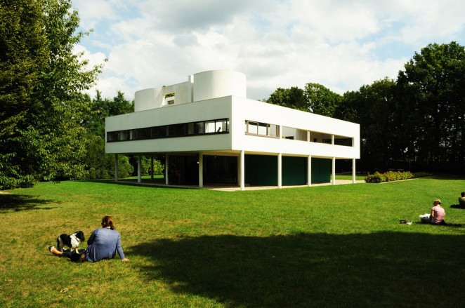 in Poissy, a small commune outside of Paris, is one of the most significant contributions to modern architecture in the 20th century, Villa Savoye by Le Corbusier. Completed in 1929, Villa Savoye is a modern take on a French country house that celebrates and reacts to the new machine age.